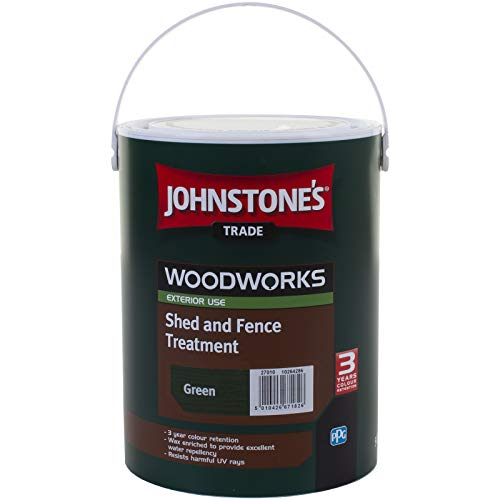 5 LTR JOHNSTONE'S WOODWORKS SHED & FENCE QUICK DRY WOODSTAIN GREEN
