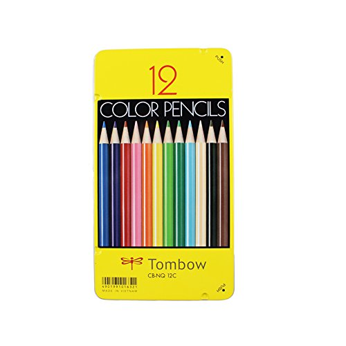 Tombow 51630 1500 Series Colored Pencils, 12 Piece Set. Artist Grade Wax-Based Colored Pencils in a Reusable Tin