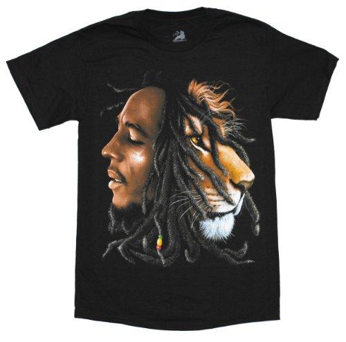 Bob Marley Lion Profile Adult T-Shirt (Small) Black