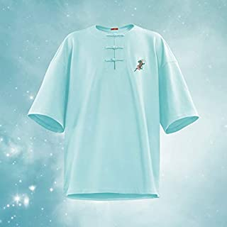 RANRANJJ High Street Light Luxury Tide Brand Color Unicorn Buckle Beaded mesh Cotton (Complete Colors,Male and Female T-Shirt) (Color : Blue)