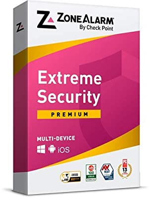 ZoneAlarm Extreme Security Anti-Phishing, Advanced Firewall, Anti-Ransomware, Real-time Antivirus, Mobile Security, 100% Virus-Free, Guaranteed. (5 Devices for 1 Year)
