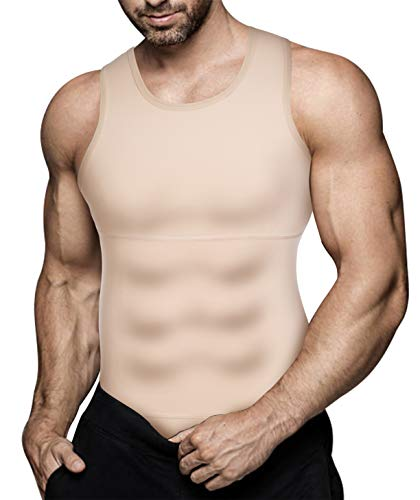 Eleady Mens Slimming Body Shaper Vest Compression Shirt Abs Abdomen Shapewear Workout Tank Top Undershirt (Large, Beige Tops)