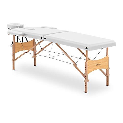 physa Camilla De Masaje Plegable Maleta Para Estética TOULOUSE WHITE (Estructura en madera de haya, Tapicería de PVC Blanca, Altura de camilla: 63-86 cm)
