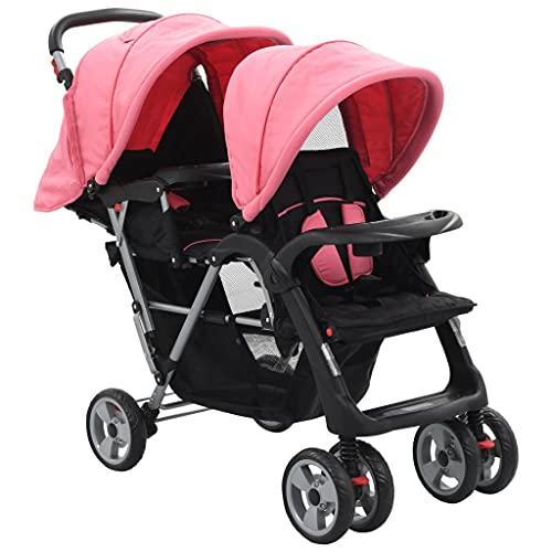 Silla de Paseo Plegable Compacta Ultra Ligera, Cochecito de Portátil Carrito para Dos bebés Tandem Rosa y Negro de Acero