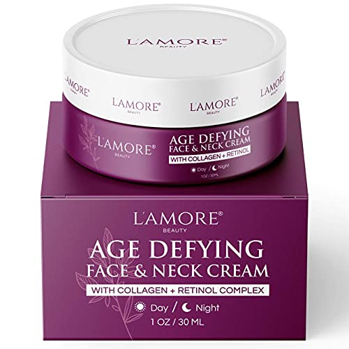 Age Defying Face and Neck Cream with Marine Collagen and Retinol, 30ml - Face Moisturizer for Women, Day and Night Face Cream, Hydrating Skin Care Anti Wrinkle Neck Firming Cream - Made in USA