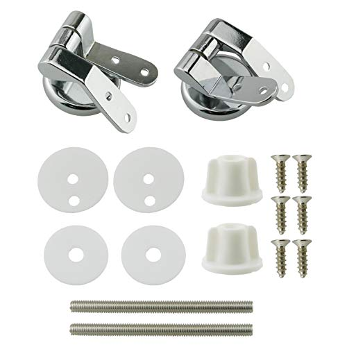 HJ Garden 1Set Zinc Alloy Bathroom Seat Toilet Lid Hinge With Screw Fittings Replacement Hinges Adjustable Toilet Seat Bolts Nuts