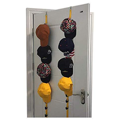 Mybow Ballmütze Organizer Sonnenhut Rack Baseball Caps Halter Ausgestattet Fußball Basketball Hüte Wand Rack mit Clip Halterung für Tür Schrank Kleiderbügel (Gelb 2 stücke)