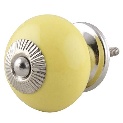 2 pieza de cerámica artesanal Indianshelf amarillo sólido cajón archivador pomos de puertas armario APARADOR Aparador tira de nuevo en línea
