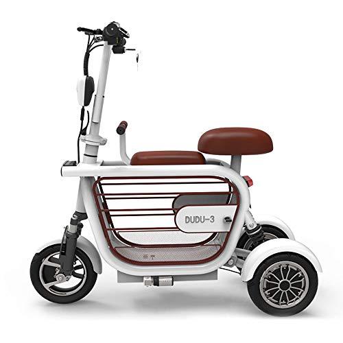 Xiaotian - Scooter eléctrico de 3 ruedas, ligero y compacto, plegable para viajar con animales de compañía portátil eléctrico triciclo con asiento infantil para adultos, blanco, 48V8AH/35km