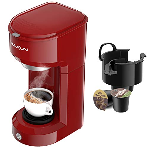 Single Serve Coffee Maker Coffee Brewer Compatible with K-Cup Single Cup Capsule with 6 to 14oz Reservoir, Mini Size (Red)