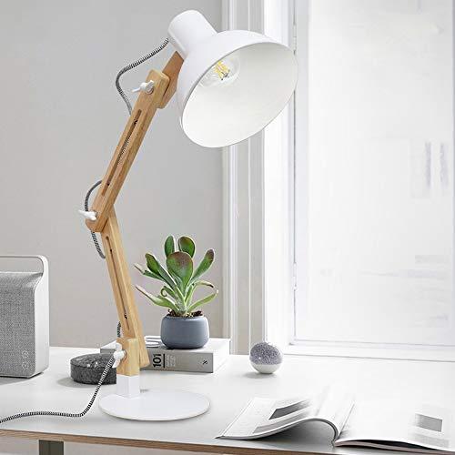 Depuley Klassische Schreibtischlampe Warmweiß LED Leselampe im klassichen Holz, E27 Glühbirne, Vintage Tischlampe Verstellbar Arbeitsleuchte, Bürolampe, Nachttischlampe für Schlafzimmer, Wohnzimmer