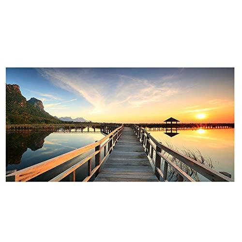Puestas de sol Puente Madera Lago Paisaje Carteles e impresiones Lienzo Pintura Cuadros Escandinavo Wall Art Imagen para LivingRoom 30x60CM SIN marco