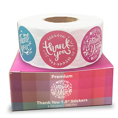 Thank You Sticker Roll of 1000 1.5 Inch 8 Designs Thank You Stickers Small Business Thank You Stickers Pink Thank You Stickers for Packaging Stickers Thank You Large Thank You Stickers