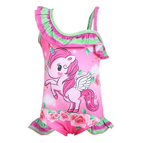 Traje de Baño Unicornio Bañador Niña de una Pieza para Niñas Bañador de Natación,Vacaciones, Playa