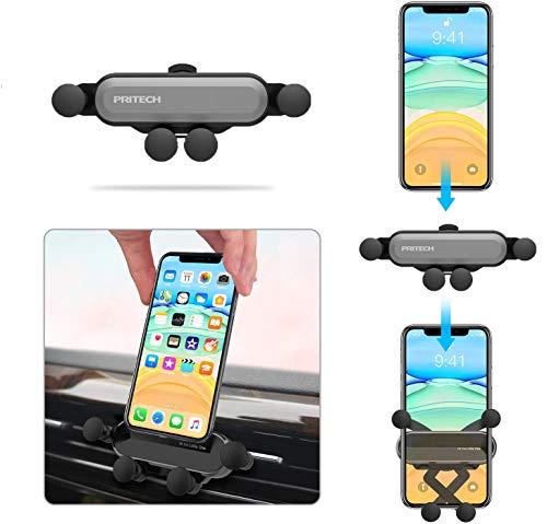 PRITECH Supporto per cellulare da auto, universale, supporto per cellulare da auto, per ventilazione di gravità, per auto, per iPhone, Samsung, Huawei, Xiaomi, da 4,7 a 6,5 pollici, colore: grigio