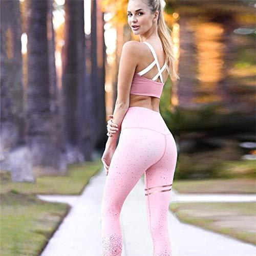Pailletten Laserdruck Push Up Leggings Frauen Fitness Slim Jeggings Hochelastische Trockene Schnelle Sportliche Hosen Und Tops L Pink