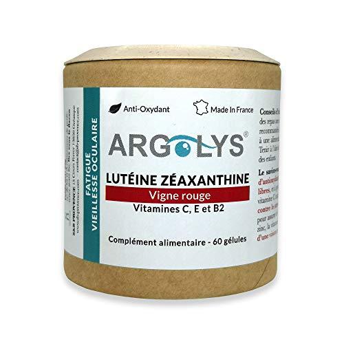 S&B Provence - Protection de la vision Argolys® - Complément Alimentaire Lutéine Zéaxanthine - Vigne Rouge, Bêta-Carotène, Vitamines C (250mg), E et B2, Zinc et Sélénium - Gélules Végétales 1 mois