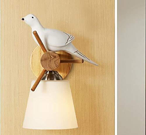 Creative Nordic Modern SimLIe woonkamer aan de muur Wood lamp Bedroom Restaurant Planken Bird wandlamp