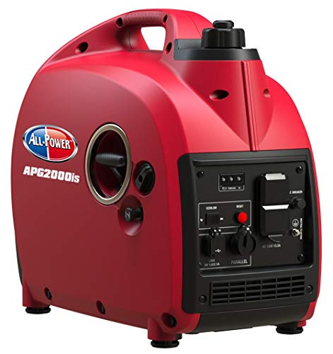 All Power America APG2000IS, 2000 Watt Compact & Quiet Portable Inverter Generator, Powered Gas Powered & Parallel Function Ready, 2000W, Red