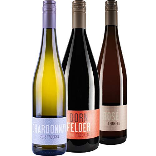 """Nehrbaß - 3er Wein Set """"Sommerpaket zum Grillen"""" aus: 1 x Chardonnay 2018 Weißwein trocken á 0,75 L, 1 x Dornfelder 2018 Rotwein trocken á 1 L, 1 x Dornfelder 2019 Roséwein feinherb á 0,75 L"""