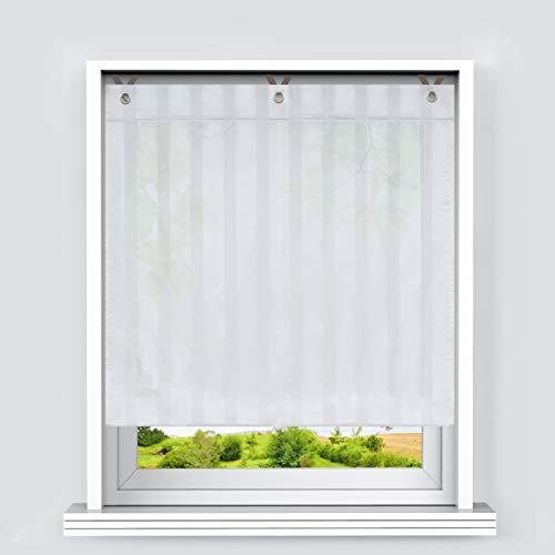 Heichkell Voile Transparentes Raffrollo mit Längsstreifen Farbverlauf Raffgardine Vorhang mit Hakenösen Rollos mit Hakenaufhängung Weiß BxH 100x140cm