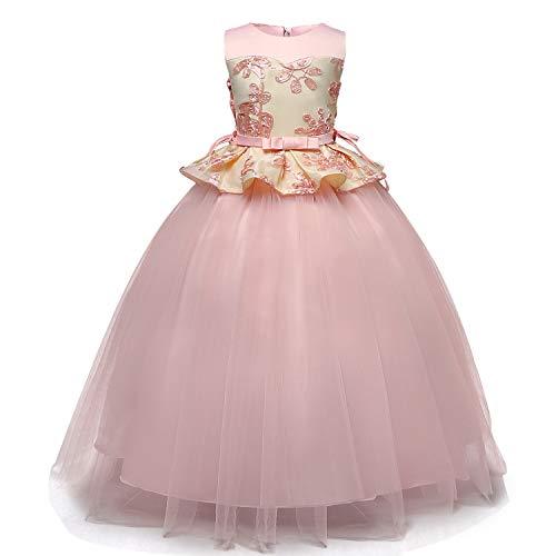 TTYAOVO Vestido de Princesa con Bordado sin Mangas para Niñas Vestido de Dama de Honor para Bodas Vestidos de Tul Vintage 8-9 Años 02Rosado