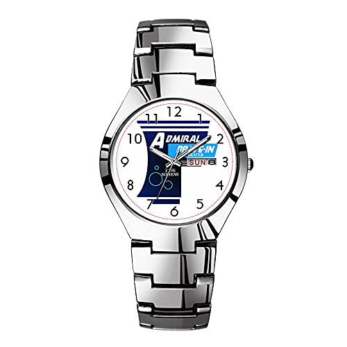 Relojes para hombre de acero plateado banda superior marca impermeable Japón reloj de cuarzo Navidad hombres negocios reloj almirante semper fortis reloj