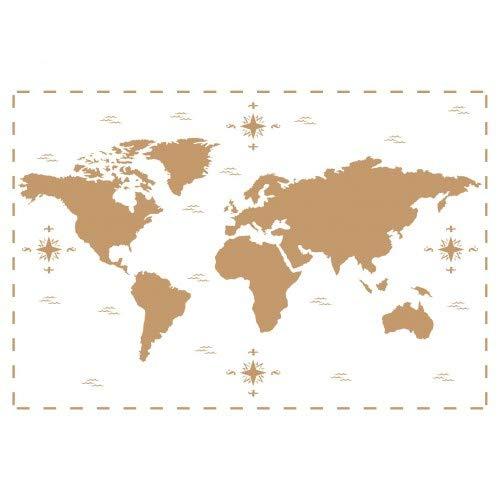 TODO-STENCIL Deco Vintage Composición 190 Mapa Mundi Medidas aproximadas: Medida Exterior 20 x 30 cm Medida del diseño: 17,5 x 26 cm