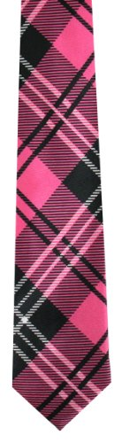 Pour homme Tartan Rose et Noir Skinny Cravate Cravate fin (Tie69) -