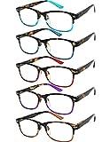 Yogo Vision Blue Light Reading Glasses for Men and Women Two Tone Havana Rectangle Readers Set of 5 +1