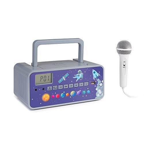auna Kidsbox – Altavoces con CD, Reproductor de CD, micrófono de Mano, Bluetooth, Puerto USB, Pantalla LCD, Funciona con Corriente y con Pilas, Conector de 3,5 mm para Auriculares, Gris