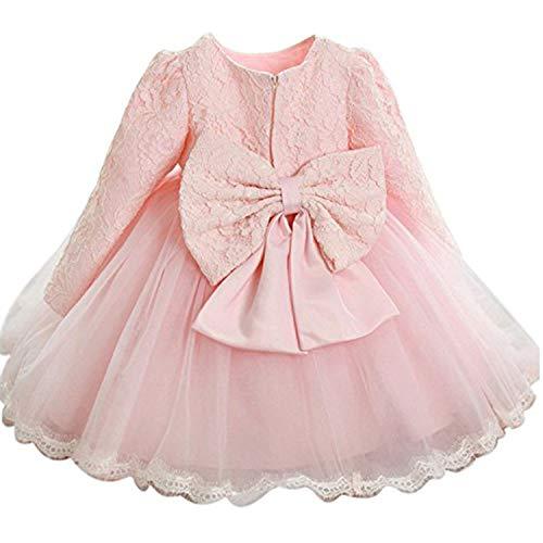 TTYAOVO Baby Mädchen Bestickt Tüll Blume Prinzessin Brautjungfer Hochzeit Geburtstag Party mit Langen Ärmeln Kleid 12-18 Monate Rosa
