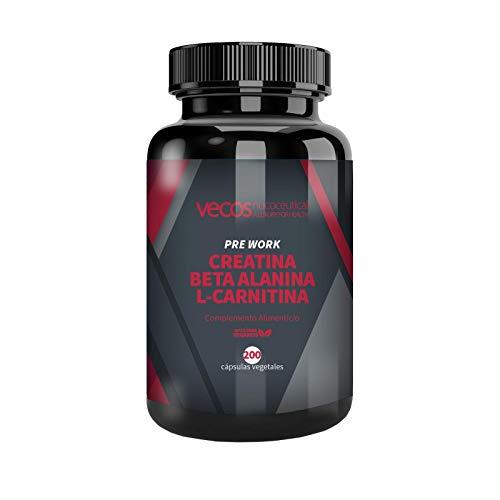 CREATINA + BETA ALANINA + L-CARNITINA - preentreno para potenciar el desarrollo muscular, la resistencia y la fuerza - 200 cápsulas APTO VEGANOS