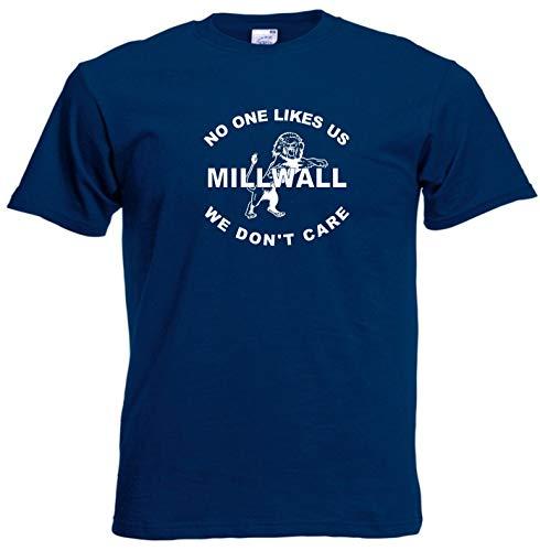 Invicta Screen Printers Millwall FC No One Likes Us Fußball-T-Shirt Gr. L, navy