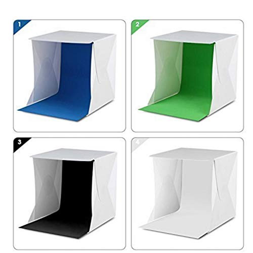 Lorenlli Lichtzelt Tragbares Lichtbox-Fotografie-Kit mit LED-Licht (8,5 x 8,5 x 8,5 Zoll) 4-farbige Hintergründe
