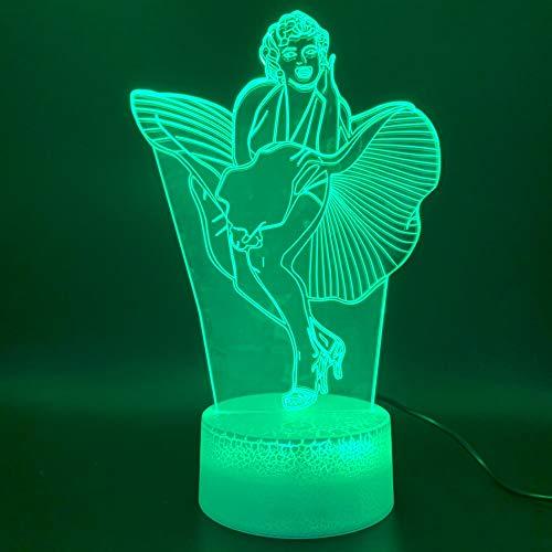 Led Promi Marilyn Monroe Kleid Figur Nachtlicht 3D LED USB Tischlampe Kinder Geburtstagsgeschenk Nachtzimmer Dekoration