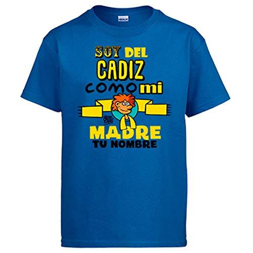 Diver Bebé Camiseta Soy del Cádiz como mi Madre Personalizable con Nombre ilustrado por Jorge Crespo Cano - Azul Royal, 3-4 años