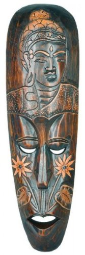 Woru Máscara Buddha 50 cm, Madera de máscara de Bali, Pared Máscara, decoración...