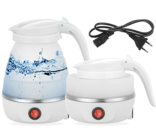 Foldable Electric Kettle, Travel Portable Kettle Coffee Tea Food Grade Silicone Mini Electric Kettle for Boiling Water 600ml Insulation Heating Boiler Tea Pot for Camping( White)