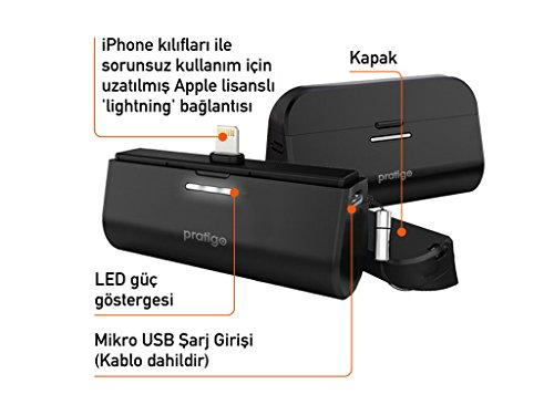 iWALK Link me 3000 mAh batteria esterna Powerbank portatile Docking Station per ricarica Compatibile con Apple iOS dispositivi con connettore Lightning (iPhone, iPad e iPod)