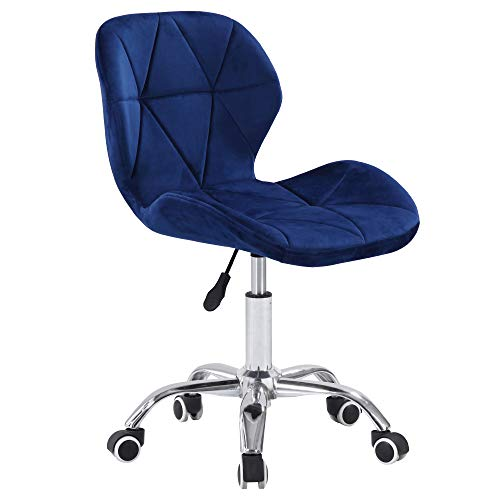 Charles Jacobs Dining/Office Swivel Chair with Chrome Legs with Wheels and Lift - Blue Velvet