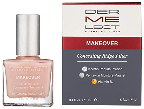 DERMELECT COSMECEUTICALS Makeover Ridge Filler Base Coat - Conceal And Fill In Unsightly Nail Ridges & Strengthen Brittle Nails (0. 4 Fluid Ounce / 11 Milliliter)