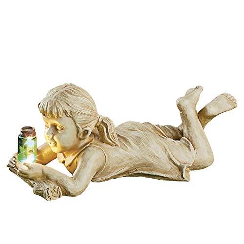 Garten Figuren Junge Mädchen Kinderfigurenpärchen Gartenfigur Deko LED Solar Lampe Gartenzwerge Figur Glühwürmchen Dekorationsfigur DIY Statuen Dekofigur Gartendeko für Innen Außen Haus Garten Hof