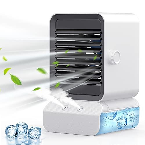 ZEBRE Condizionatore Portatile, 4 IN 1 Mini Raffreddatore D aria Climatizzatore Portatile Evaporativo Umidificatore Ventilatore Acqua, Air Cooler con 7 luci LED a Colori e 3 Velocità, per Casa Ufficio