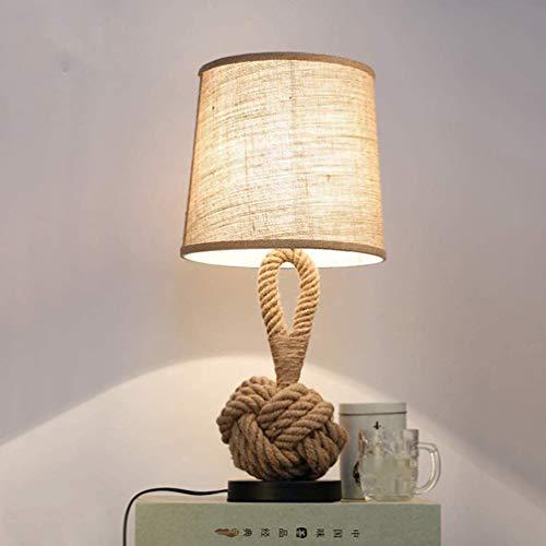 Lámpara de mesa retro de cuerda de cáñamo, Lámpara de escritorio de mesa de noche industrial Twine Vintage, Pantalla redonda de lino hecha a mano, E27 Luz de lectura para sala de estar, dormitorio