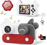 Kinderkamera, Kinder Digitalkamera Spielzeug 2 Zoll HD-Bildschirm 1080P Kinder Fotoapparat Tragbar Videokameras Kamera Spielzeug für Jungen Mädchen im Alter von 3 4 5 6 7 8 9 10 Jahre alt (Rot)