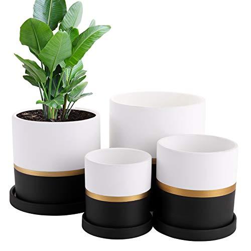 Fasmov 4 Pack Flower Plant Pot, Ceramic Garden Planter with Drain Hole Saucer, Modern Succulents Containers Plant Containers Flower Pot for All Indoor Plants, Terracotta