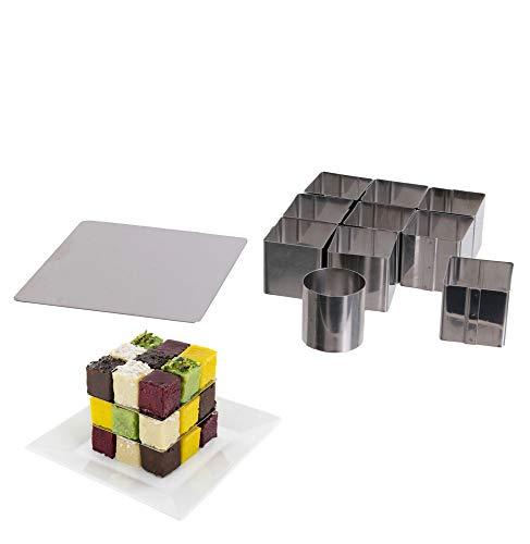 Molde para pastel de 25 cubos y placas de superposición