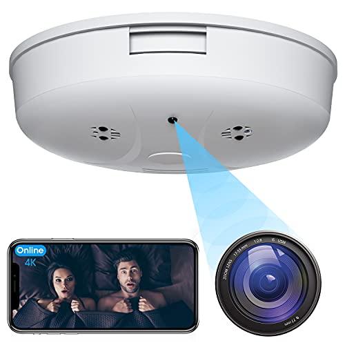 4K Hidden Camera Smoke Detector - HD 1080P Wireless Mini Security Spy Camera WiFi Night Vision and...