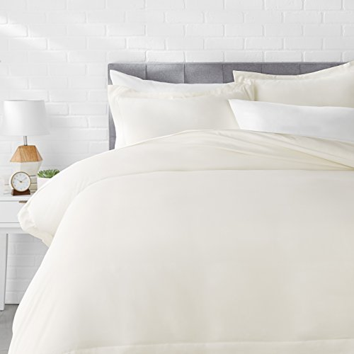 Amazon Basics Light-Weight Microfiber Duvet Cover Set with Snap Buttons - Full/Queen, Cream